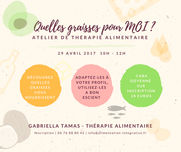 Quelles graisses pour MOI ? Atelier Caba 29 avril 2017