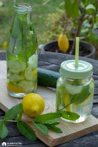 Eau aromatisée menthe-citron-concombre